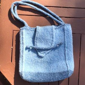 Handmade Two Tone Blue Felted Shoulder Bag